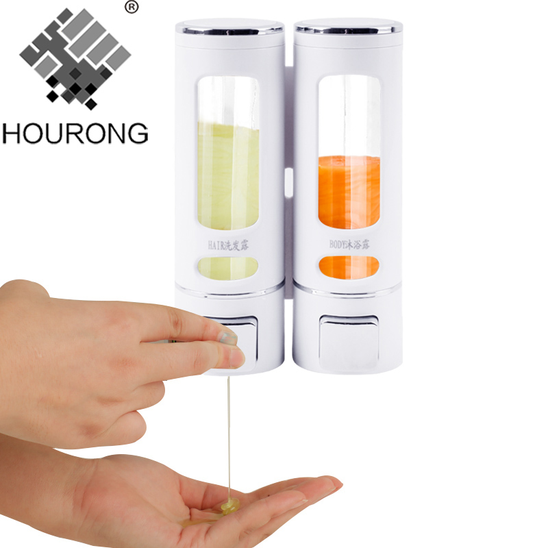 Hourong 400ml Double Soap Dispenser Wall Mounted Soap Shampoo Dispenser Washroom Shampoo Dispenser For Kitchen Bathroom