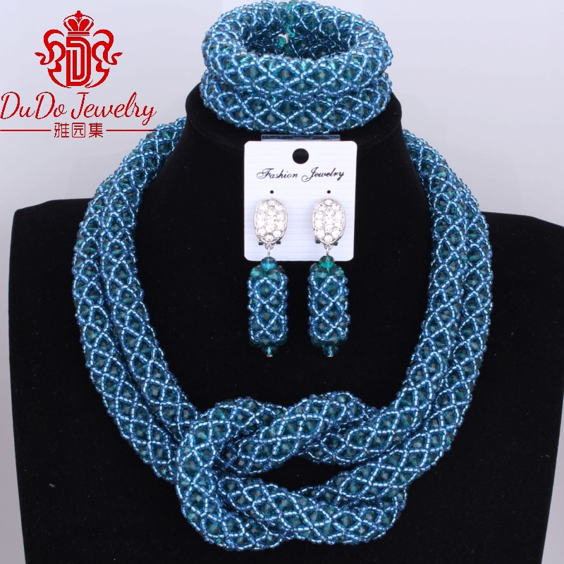 Wholesale Price Teal Green Bridal Jewelry Sets 2 Layers Nigerian Wedding African Beads Jewelry Fashion Necklace Sets 2017 NewestWholesale Price Teal Green Bridal Jewelry Sets 2 Layers Nigerian Wedding African Beads Jewelry Fashion Necklace Sets 2017 Newest