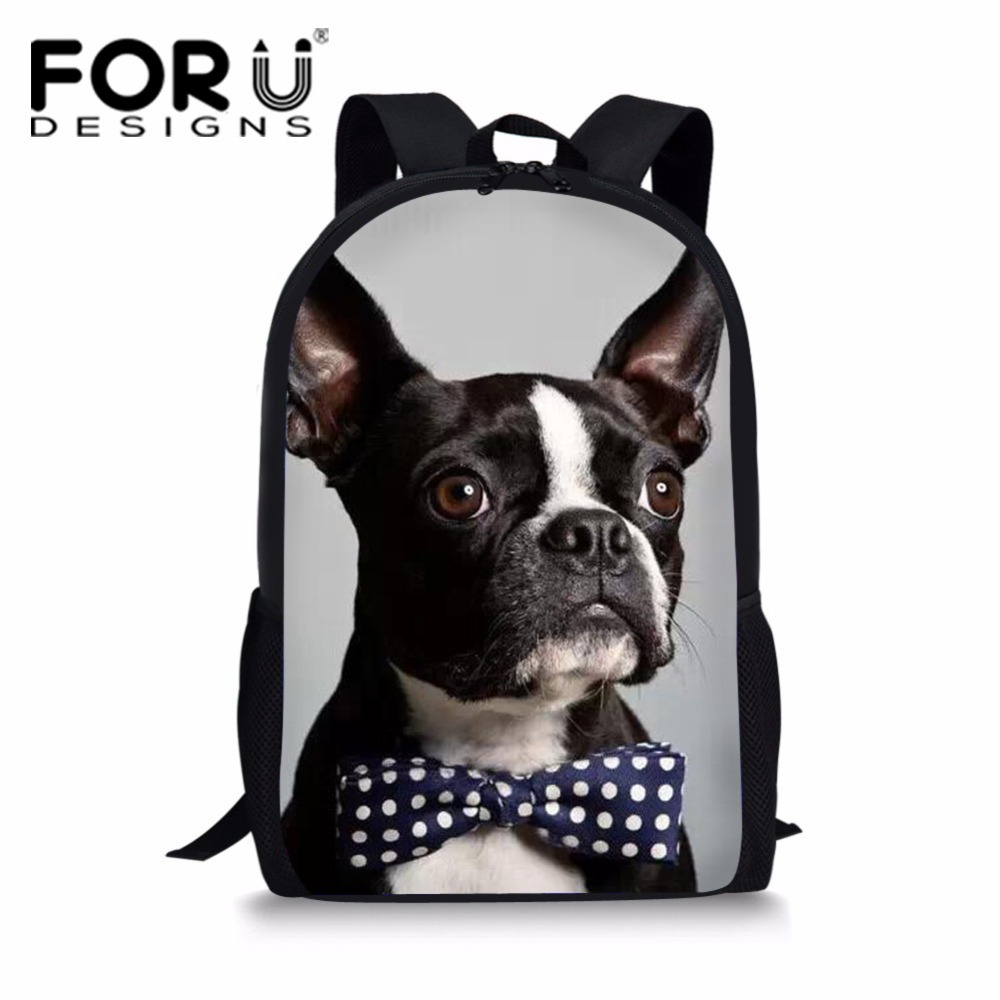 FORUDESIGNS School Bag For Teenager Girls Primary Students Schoolbag France Bulldog Children Book Bag Boys Softback School Bag