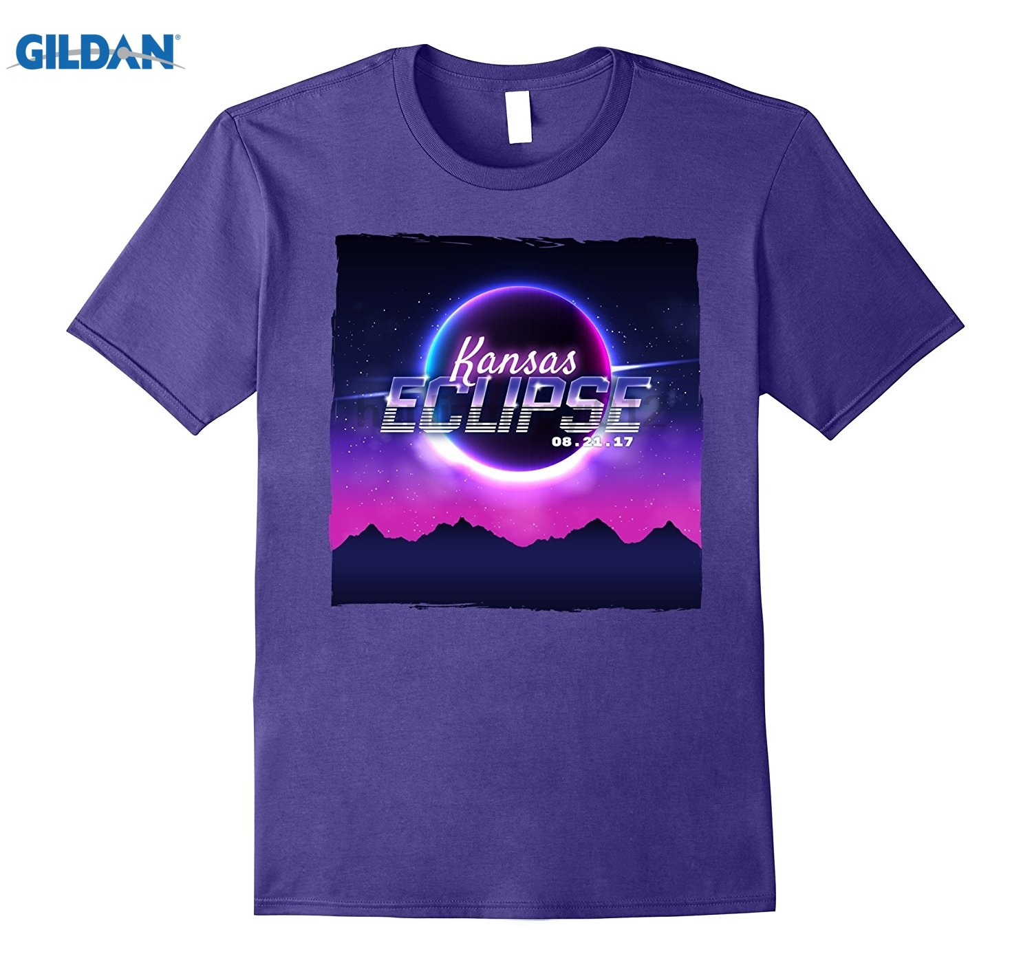 GILDAN Vintage Kansas Solar Eclipse 2017 T-shirt Hot Womens T-shirt