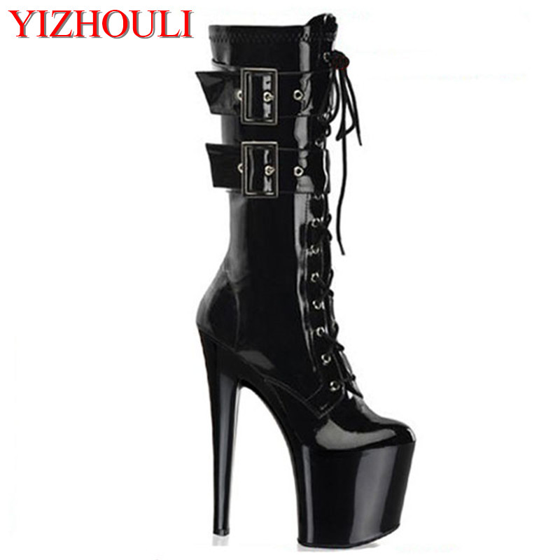 20 cm high heels, thick with round toe pole dancing boots, nightclub high sexy black women's high boots 20cm pole dancing sexy ultra high knee high boots with pure color sexy dancer high heeled lap dancing shoes