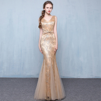 Long Mermaid Evening Dress 2017 Gold Black Silver Burgundry Red Lace Floor Length Women Formal Gowns