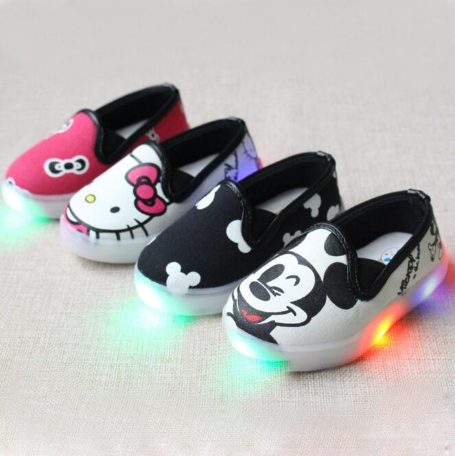 Hello Kitty Children Light Shoes For Girls Baby Canvas Sneakers Mickey LED Sneakers Kids Shoes For Boys Girls Chaussure Enfant