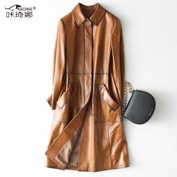 c25016ac4bb Из натуральной кожи куртка Женская Весенняя 2019 уличная овчины пальто  женские длинные тренчи для женщин и куртки Chaqueta Mujer 28217