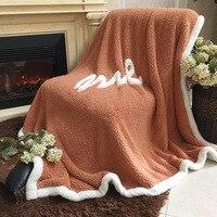 FashionMove Berber Fleece Blanket Warm Soft Raschel Blankets Double Layer Throw On Sofa Bed Plane Plaids Printing