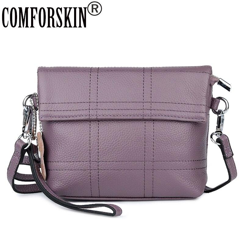 COMFORSKIN Premium 100% Cow Leather Patchwork Ladies Messenger Bags 2018 Fashion Geometric Small Size Handbags Bolsas Feminina 11cls bolsas fashion 100