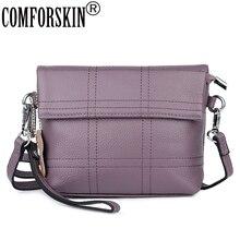 COMFORSKIN Premium 100% Cow Leather Patchwork Ladies Messenger Bags 2018 Fashion Geometric Small Size Handbags Bolsas Feminina