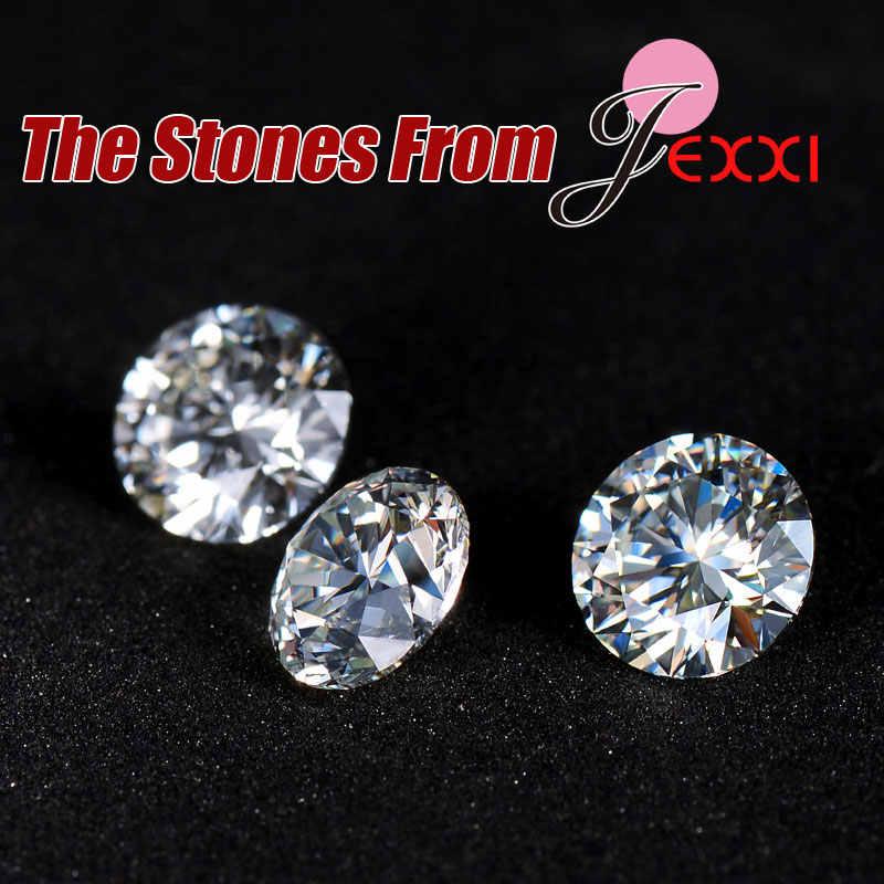 Canndy Farben 925 Sterling Silber Hochzeit Elegante Schmuck Sets Kristall Anhänger Kragen Halskette Ohrringe