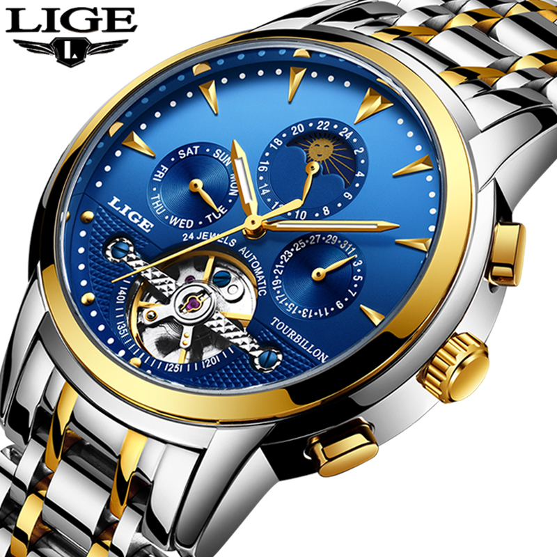 Mens Watches New Lige Top Brand Luxury Men's Automatic Mechanical Watch Mens Fashion Business Waterproof Watch Relogio Masculino