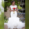 QQ Lover 2017 Sexy African Short Sleeves Mermaid Wedding Dresses Full Beaded Bridal Gown Real Pictures Vestido De Noiva