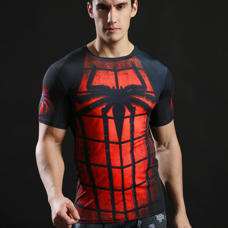 Red Spider Print Men tshirt Gym Quick Dry Short Sleeves Shirts Compression Shirts Men Women Fitness Sport Shirt Running 3D Shirt