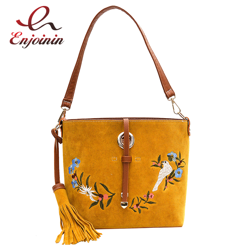 Good quality faux suede embroidery flower pattern bucket bag ladies shoulder bag handbag composite bag femal messenger bag