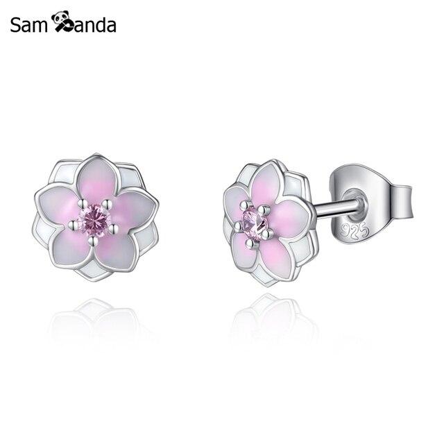 5ae8f5bfa Authentic Original 100% 925 Sterling Silver Stud Earrings Magnolia Bloom  Brincos Earing Enamel Pink CZ Women Fashion Jewelry