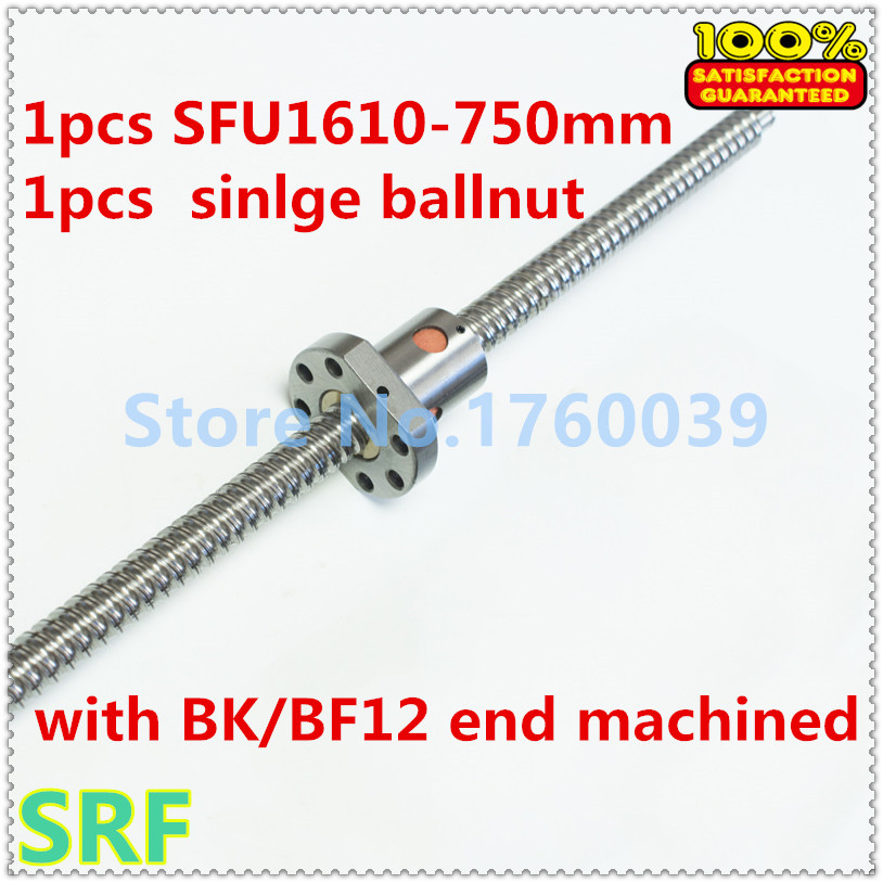 цены  1pcs 16mm Rolled Ballscrew SFU1610 Ball screw lead length 750mm+1pcs single ball nut with BK/BF12 end machining for CNC parts