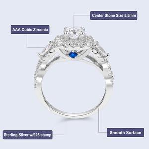 Image 5 - Newshe 2 Pcs Halo 925 Sterling Silver Wedding Rings For Women 1.5 Ct Round Pear Cut AAA CZ Classic Jewelry Engagement Ring Set