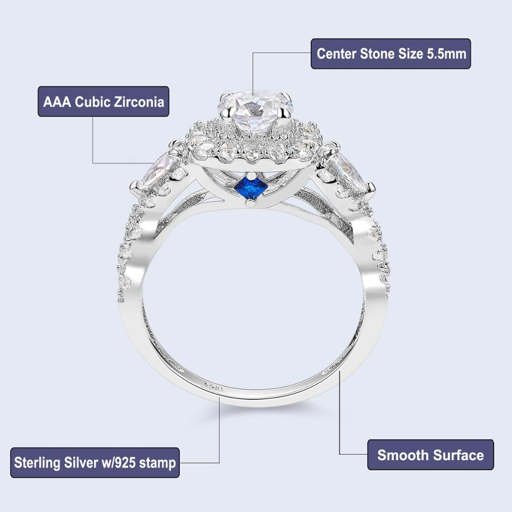Newshe 2 st Halo 925 Sterling Silver Bröllop Ringar För Kvinnor 1.5 - Märkessmycken - Foto 5