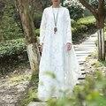 JN052 Primavera y el Verano 2016 casual elegante vintage mujeres sueltan más el tamaño blanco del cordón del traje de manga larga vestido maxi