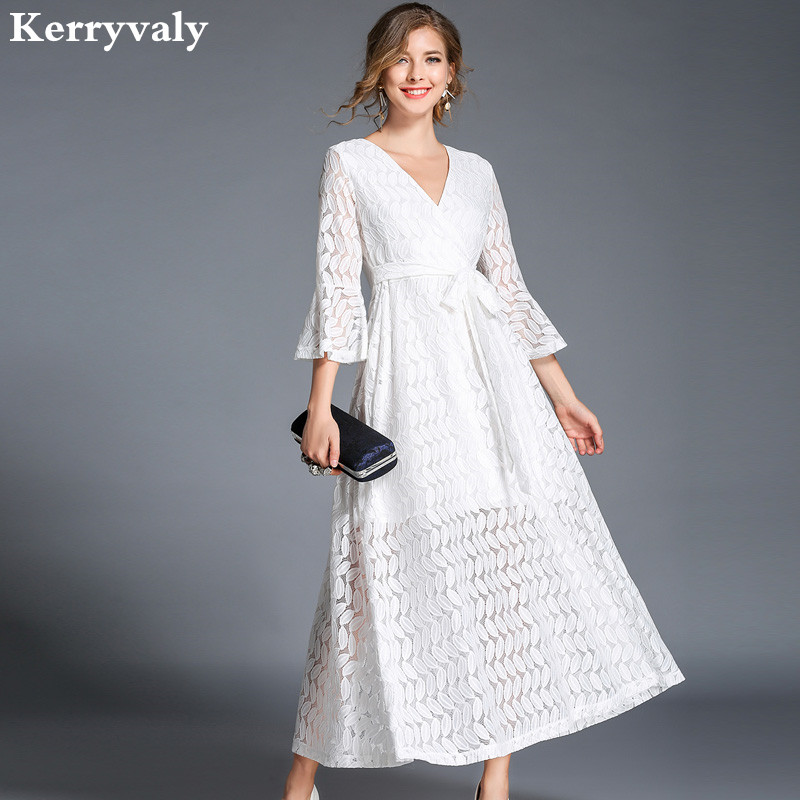 Autumn V-neck Hollow Out White Lace Dress Women Clothes 2017 Robe Longue Big Swing Long Woman Dress Moda Praia K322788