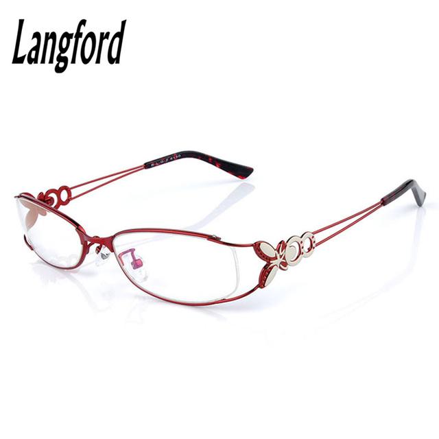 Armações de óculos de olho para as mulheres red liga full frame oval quadros lentes Miopia vidro óptico modelo borboleta luz 6150