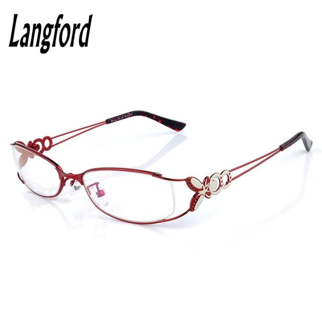 eye glasses frames for women red alloy full frame oval frames optical glass Myopia lenses butterfly model light 6150