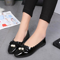 2016 New Summer round toe Shallow women flats solid flats heels butterfly-knot pearl fashion sweet casual women flats ST678