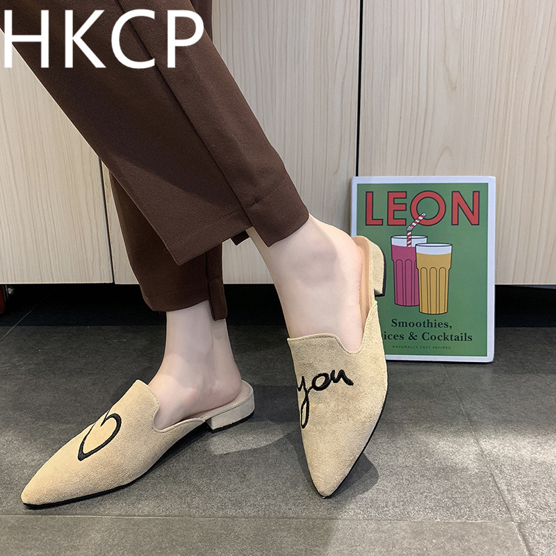 HKCP Fashion Summer 2019 New Tip Low-heeled Half-slippers, Rough-heeled Baitaluofu Shoes, Womens Slippers C157
