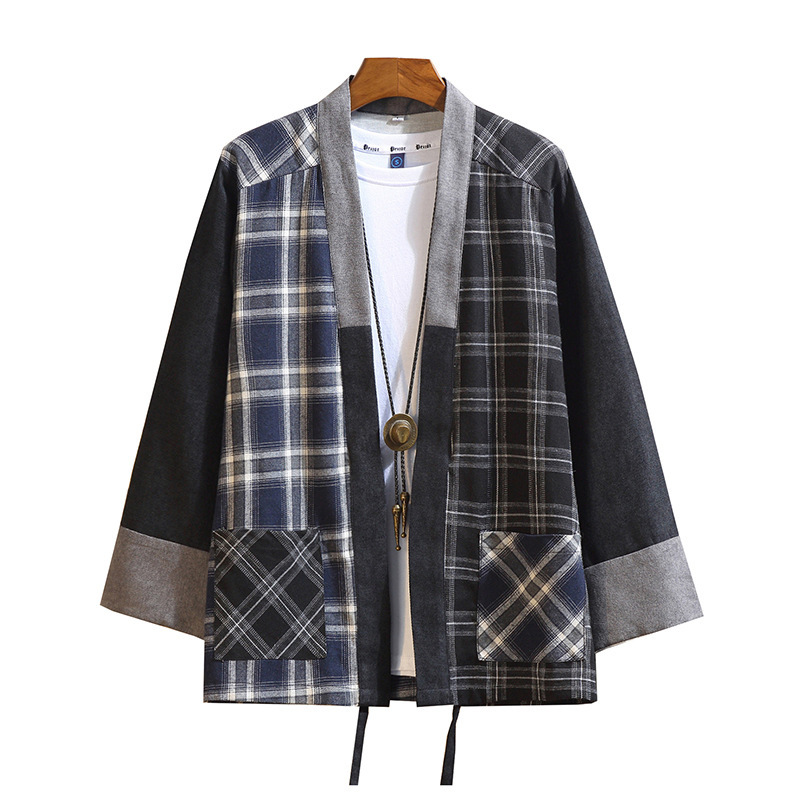 #3907 Spring Autumn Long Sleeve Cotton Linen Jacket Men Vintage Casual Japanese Style Kimono Coat Loose Spliced Color Plaid 5XL