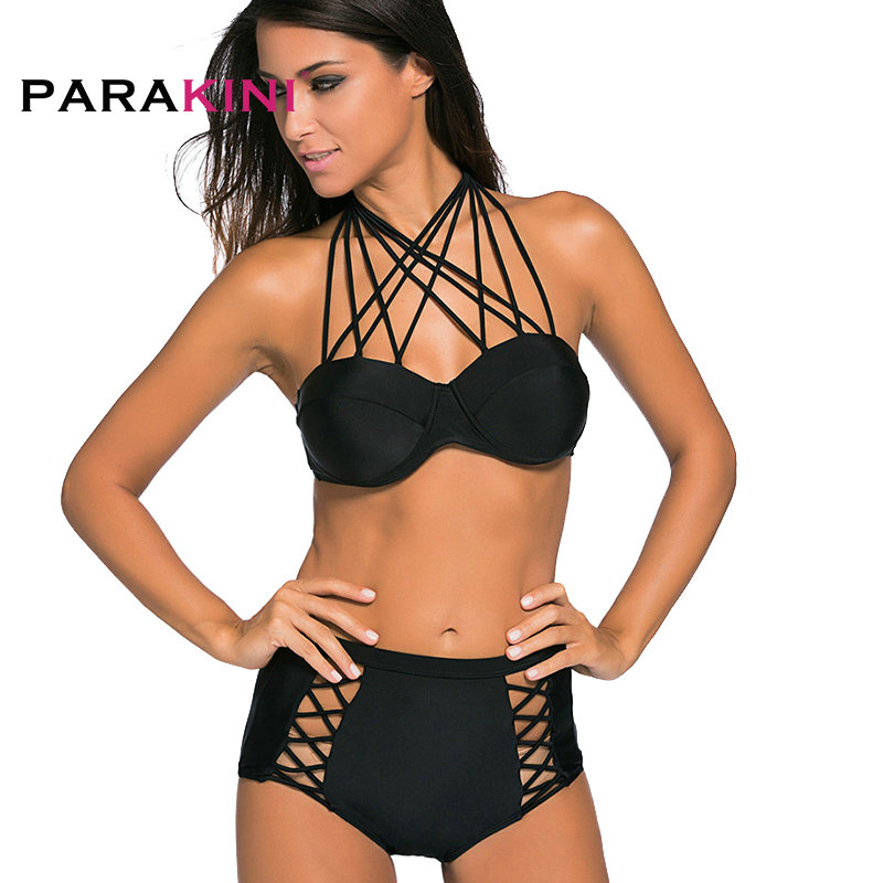 best loved shades of famous brand US $10.33 6% OFF|PARAKINI 2018 Sexy Olive Green Bra Push Up Bikinis Set  High Waist Swimsuit Strappy String Bottom Bathing Suit Swimwear Biquinis-in  ...