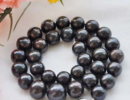 """FREE SHIPPING HUGE REAL 18"""" 13mm ROUND black freshwater cultured PEARL NECKLACE (A0501)"""