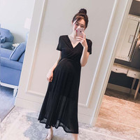 Pregnancy dress summer Korean version V collar nursing bright silk dress show thin elegant maternity dresses for photo shoot