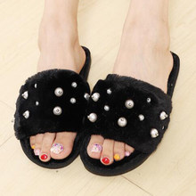 New Warm Flats Soft Sole Women Indoor Floor Slippers/Shoes pearl White Gray Cows Pink Flannel Home Slippers pantoufle femme b15(China)