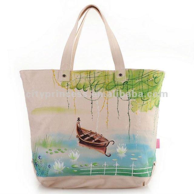 Finest beautiful canvas tote bags fashion girl handbag hand drawing bags  CC27