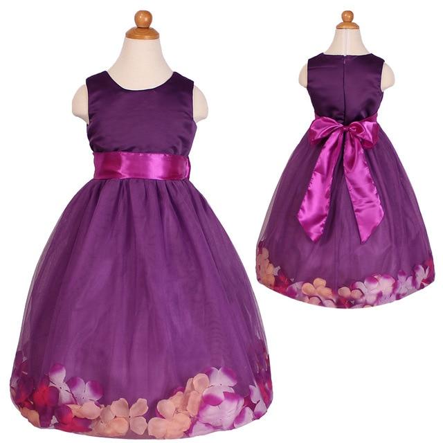 T062 Kinder sleeveless Lila Party Girl Petal Hochzeit Kleider 2 3 4 ...