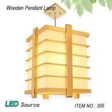LED Japanese tatami restaurant and wood simple room bedroom chandelier log Korean sheepskin
