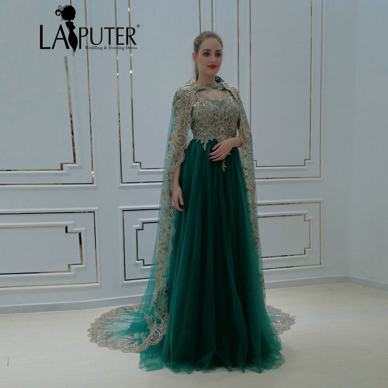 843e32a85d7d Aliexpress.com   Buy LAIPUTER 2018 Womens Green Evening Dresses A line V  neck Lace with Beads Tulle Prom Dress for Woman with Cape from Reliable  Evening ...