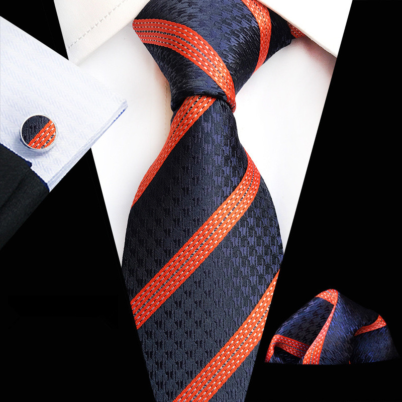 71 Colors 100% Silk Tie Set For Men Plaid Necktie Sets Cufflik Pocket Square Navy Orange 2019 Mens Suit Tie Handkerchief