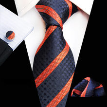 71 Colors 100% Silk Tie Set for Men Plaid Necktie Sets Cufflik Pocket Square Navy Orange 2019 Mens Suit Tie Handkerchief(China)