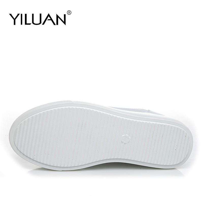 Yiluan cuir véritable femmes blanc chaussures plate-forme baskets 2019 printemps automne mode femmes noir augmenter chaussures femme décontractées - 4