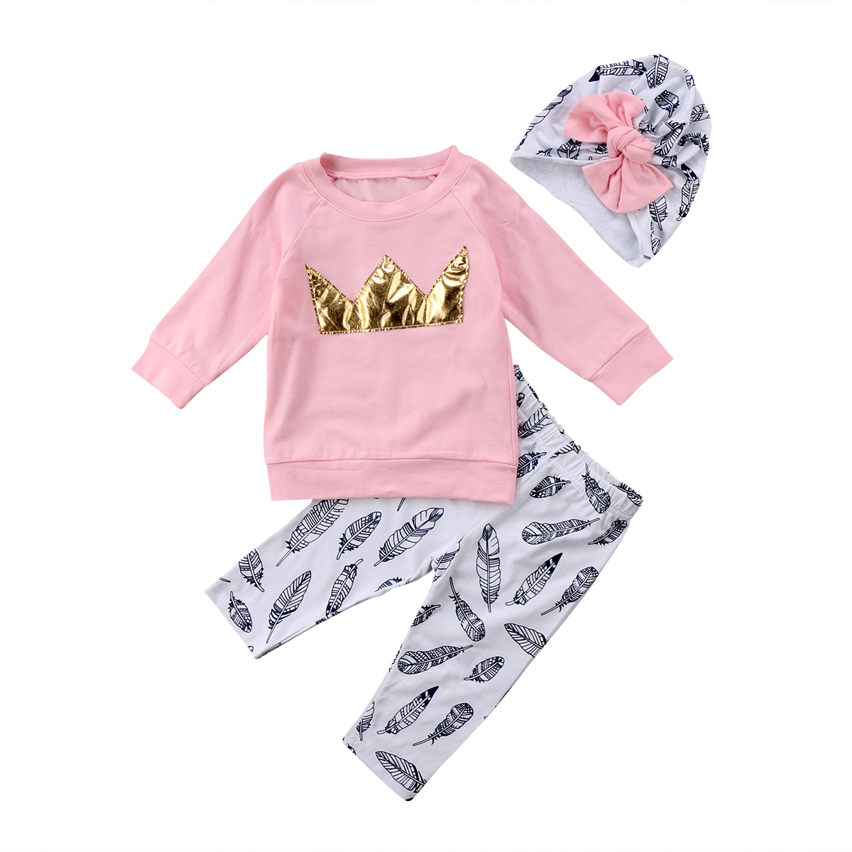 Princess Girls Clothes Set Newborn Infant Baby Girls Clothing Long Sleeve T shirts Pants Hat 2018 New Clothes For Baby Girls