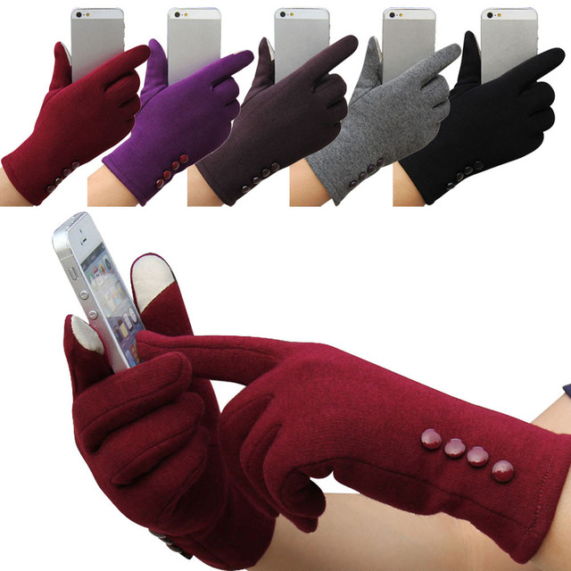 Winter 4 Buttons  Cotton Gloves