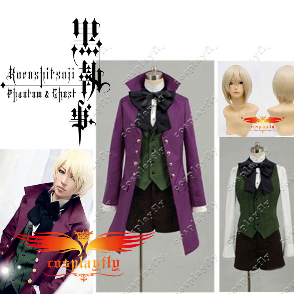 Black Butler II 2 Alois Trancy Cosplay Costume  Outfit Clothing For Adult with Free Black Stockings and Wig (C0007/J0130)