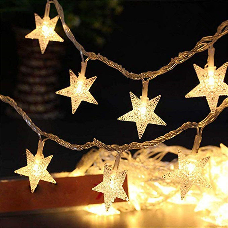 SICCSAEE New Holiday Party Decor Light String 1.5M 10 LED Crystal Clear Star Fairy String Light Wedding Party Outdoor Decor Lamp
