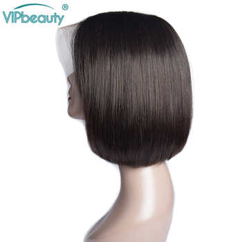 Vipbeauty 13x4 Lace Front Human Hair Wigs Brazilian Straight Remy Hair Short Bob Lace Front Wig PrePlucked Lace Wig 150% Density