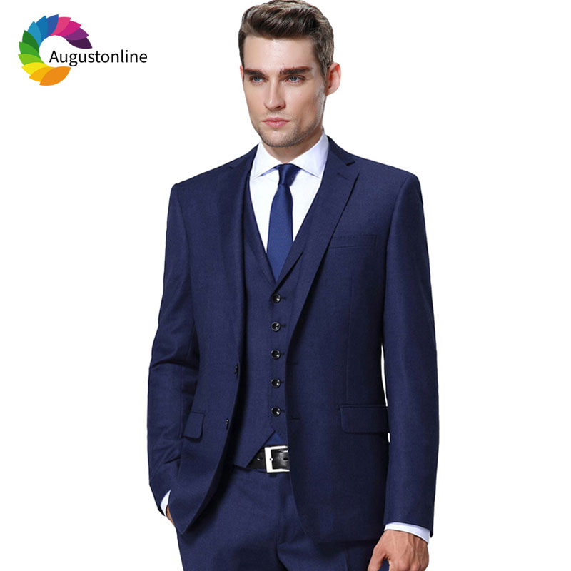 Navy Blue Men Suits For Business Costume Homme Slim Fit Groom Tuxedo 3Piece Jacket Pants Vest Best Man Blazer Terno Masculino