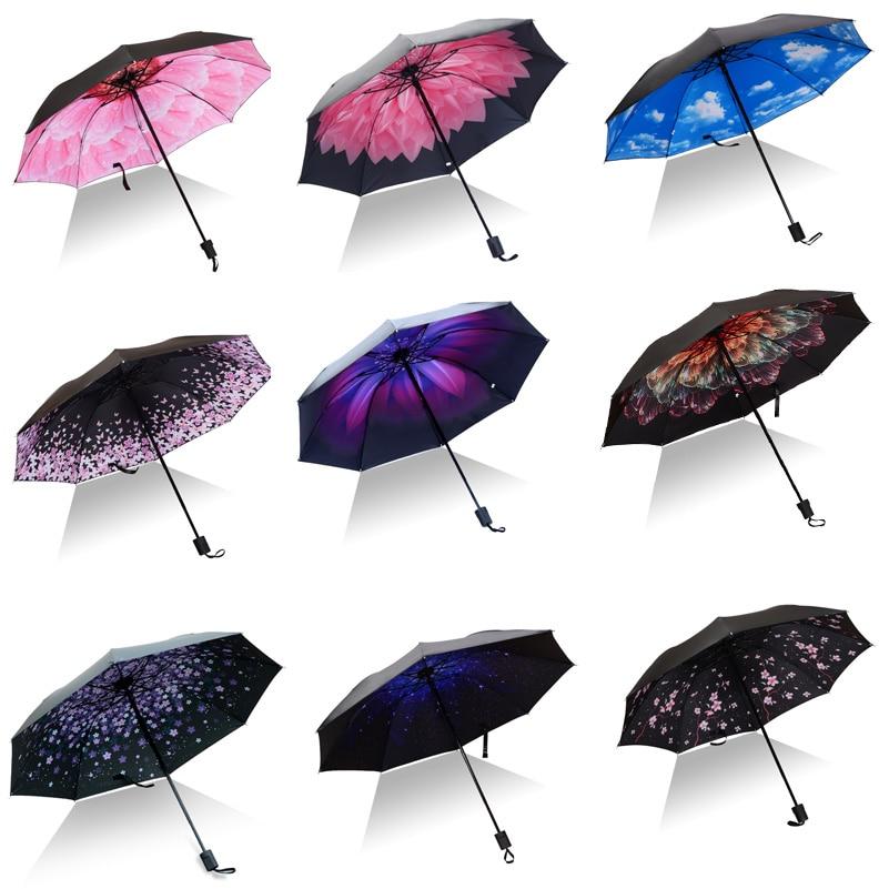 outside Printing Travel Umbrella Balloons Of Blue Yellow Purple Colors Anti Uv Compact 3 Fold Art Lightweight Foldable Umbrellas Windproof Rain Sun Protection Umbrellas For Women Girls Kids