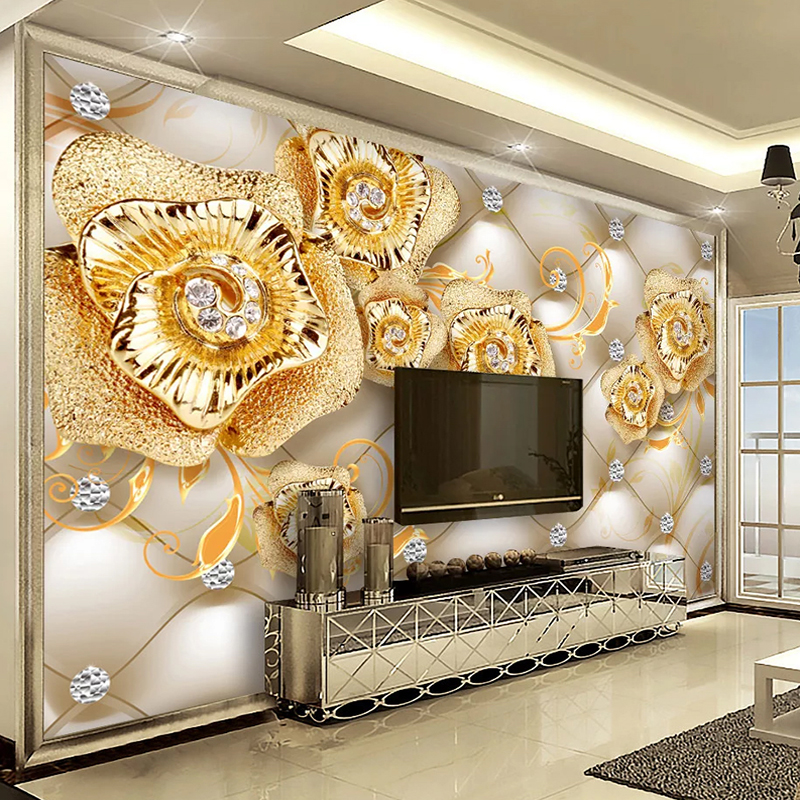 Custom Self-adhesive Wallpaper 3D Diamond Jewelry Golden Flower Living Room TV Background Wall Painting Wall Papers Home Decor