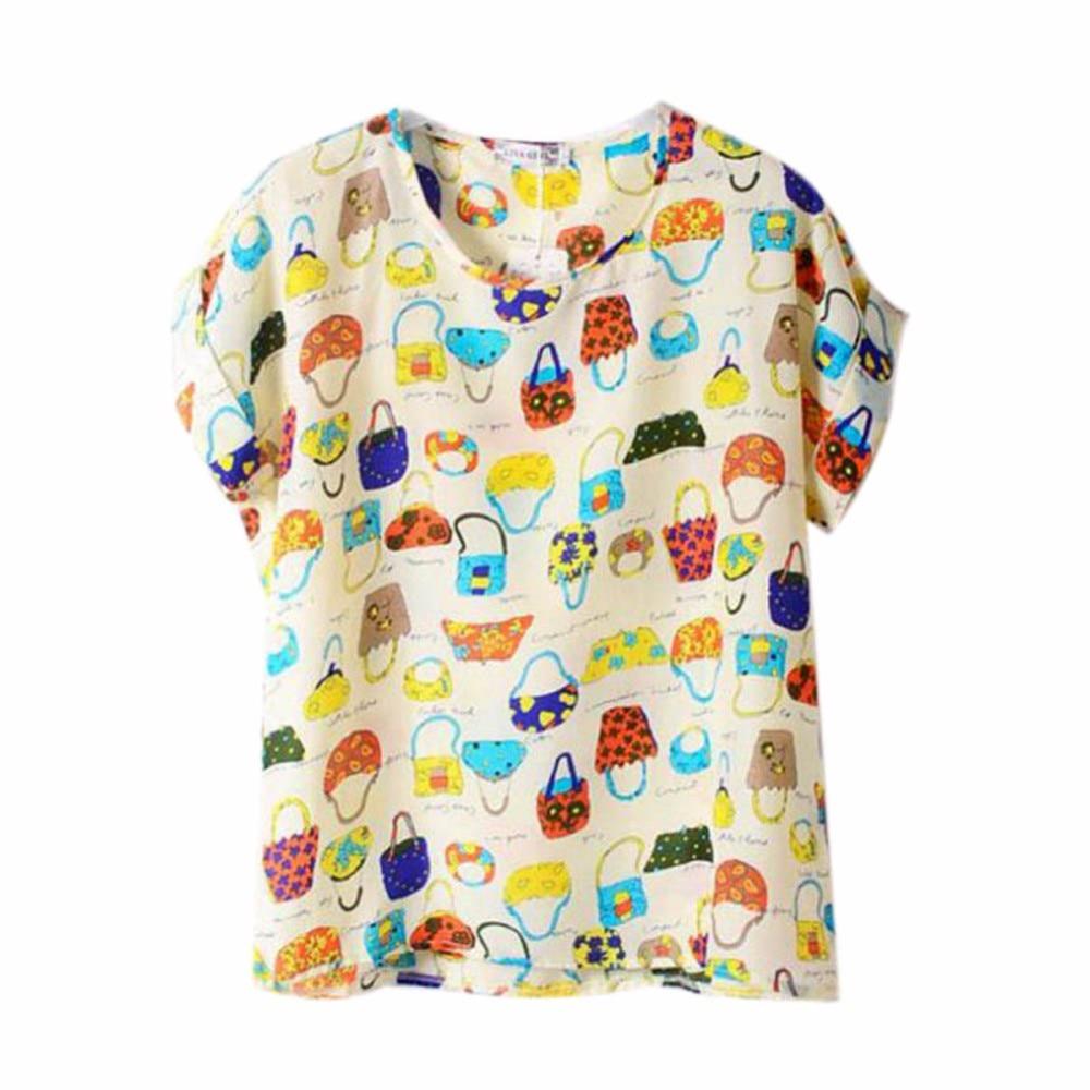 HTB1UiOXRXXXXXXEXVXXq6xXFXXX3 - T-shirts O Neck Bird Printed Women Top Colorful Short Sleeve