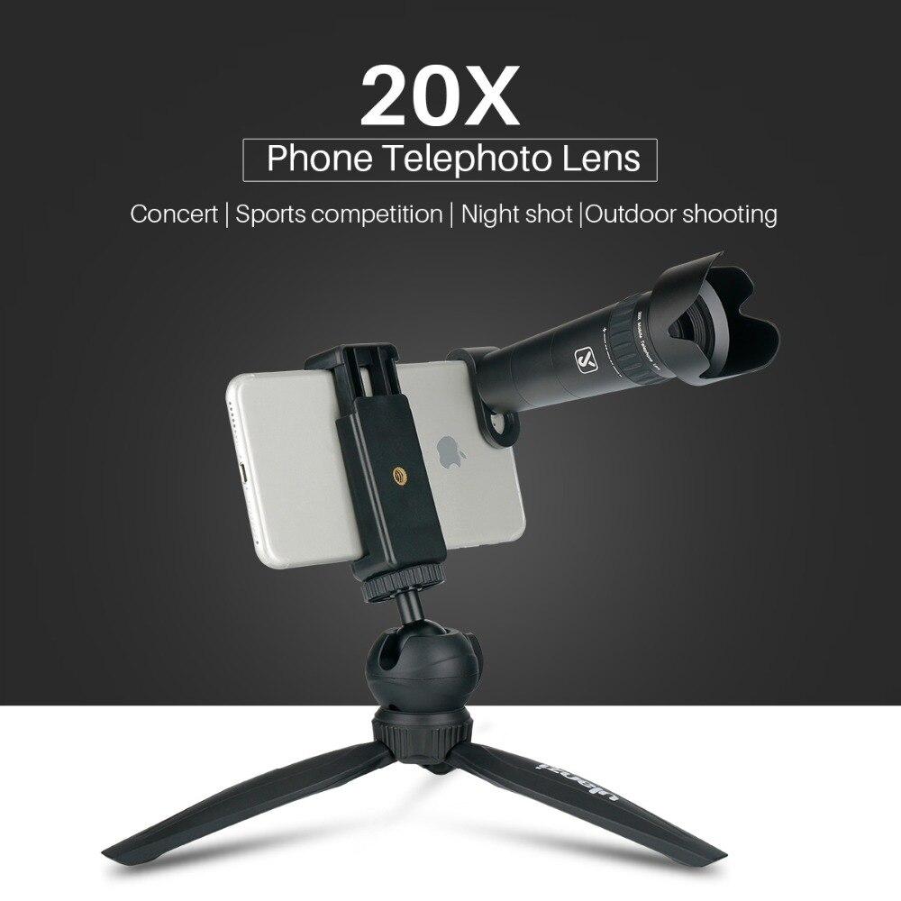 $37.50 20X HD Mobile Phone Telephoto Lens Portable Telescope Lens w Desktop Tripod Phone clip for Camera iPhone Samsung Xiaomi Huawei