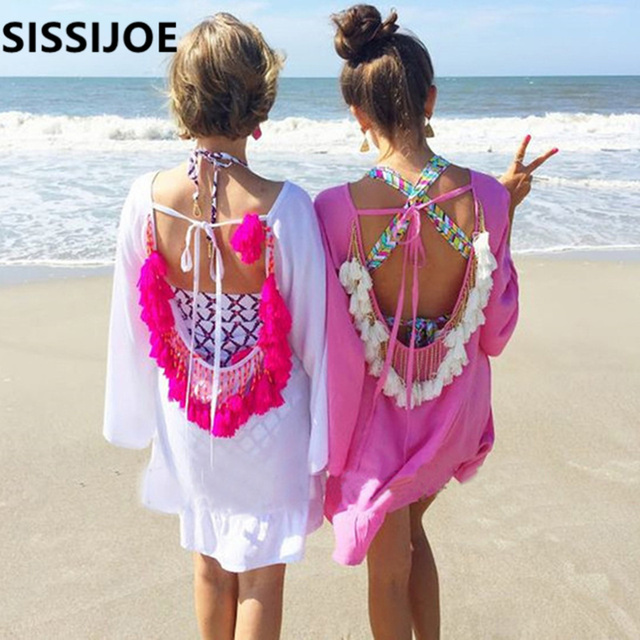 3b195fa088 Aliexpress.com : Buy Women Summer Dresses 2019 Sexy Backless Tassels Beach  Cover Up Beachwear Woman Beach Dress Sexy Pareo Bikini Covers Beach Tunic  from ...