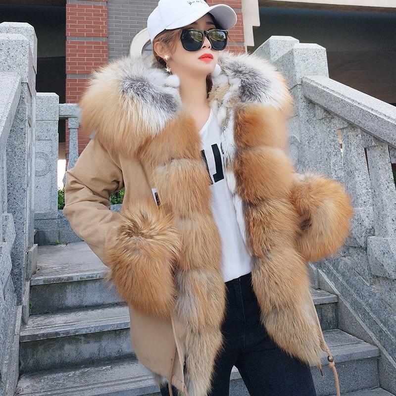 Womens Winter Fashion Warm Fur   Parkas   2018 Real Fox Fur Detachable Rabbit Fur Liner Jacket Hooded Oversized Coat Female